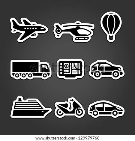 Set transportation icons stickers - stock photo
