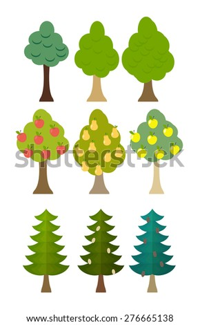 set Tree icon fruit trees, conifers, forest