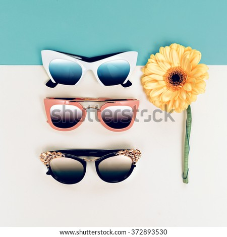 Set trendy Sunglasses. Choice Season. Fashion style - stock photo