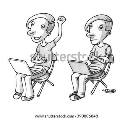 Set, Two Boys freelancer. Hand Drawn illustration - stock photo