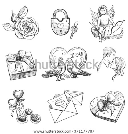 Set valentine's day objects, Love icon - cupid, love, hearts, doves, gifts, candy, lovers, flowers, valentine