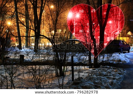 Set Valentines Background, Heart, Valentine day love. Snow night town