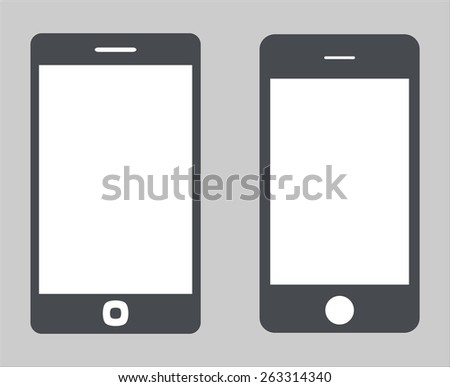 Set 3. Variety of modern black icon silhouette smartphone mobile tablet pc with blank screen isolated on white background. illustration  - stock photo