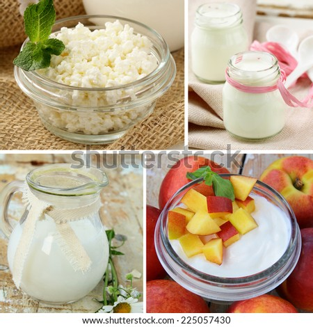 set various dairy products - cheese, milk, yogurt - stock photo