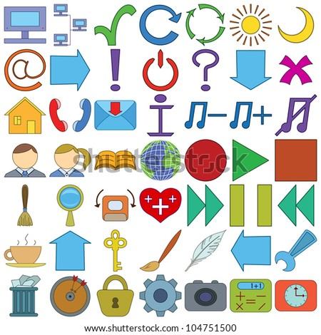 Set various icons, computer signs and buttons - stock photo