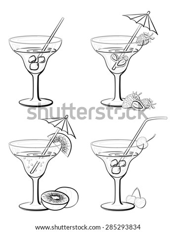 Set Vases and Glass with Drinks, Juice, Fruits and Berries Black Contours Isolated on White Background.  - stock photo