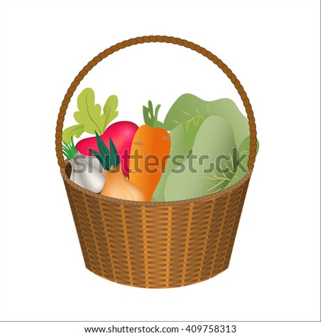 set vegetables in wiker basket on white background