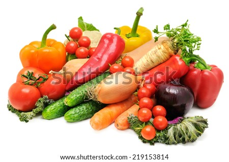 set vegetables isolated on a white background - stock photo