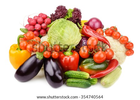 set vegetables isolated on white background - stock photo