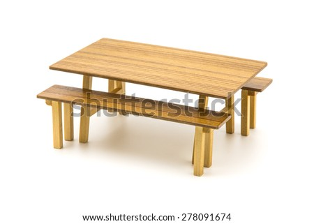 Set Vintage Long Wooden Table and Bench on White Background. - stock photo