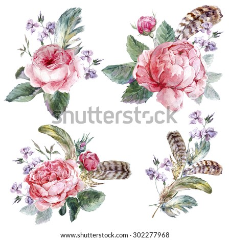 Set vintage watercolor bouquet of roses feathers and wildflowers, watercolor illustration isolated on white background - stock photo