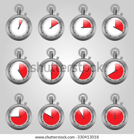 set watches, watches with a red zone isolated on grey background - stock photo