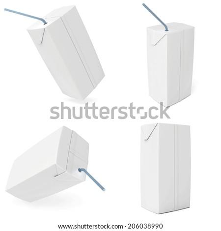 set white carton milk or juice. 3d render. - stock photo