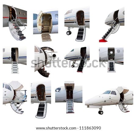 set white private jet and open ladders in a private jet isolated on a white background - stock photo