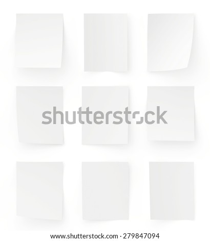 Set white sheets of paper on white background