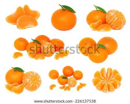 Set whole and sliced mandarines with green leaves isolated on white background - stock photo