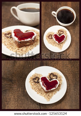 set with a cake shape of heart and coffee - stock photo