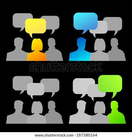 set with abstract illustration of people communicating - stock photo