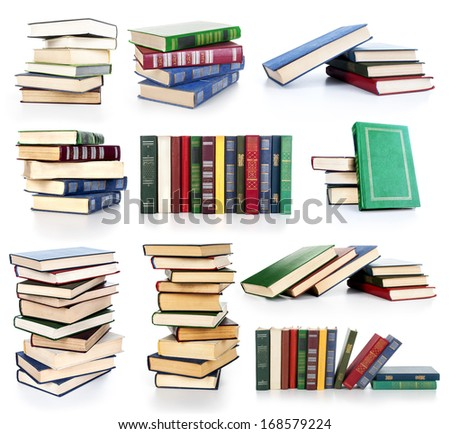 set with books on white background