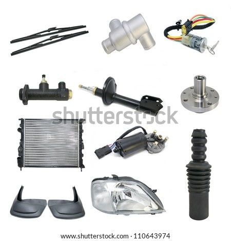 Set with car parts on a white background - stock photo