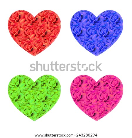 Set with colorful hearts of watercolor roses. Raster illustration - stock photo