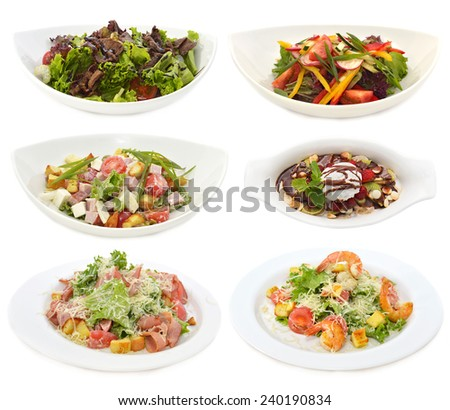 Set with delicious restaurant dishes, various appetizer salads and dessert with ice cream, isolated on white - stock photo