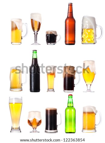 set with different beer isolated on white background - stock photo