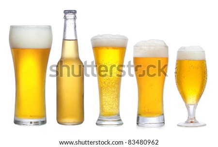 set with different glasses of beer on white background - stock photo