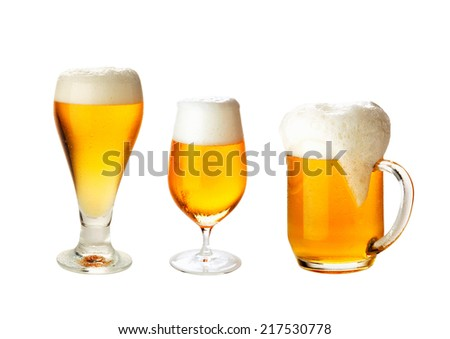 set with different glasses of beer on white- excellent quality