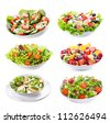 set with different salads on white background - stock photo