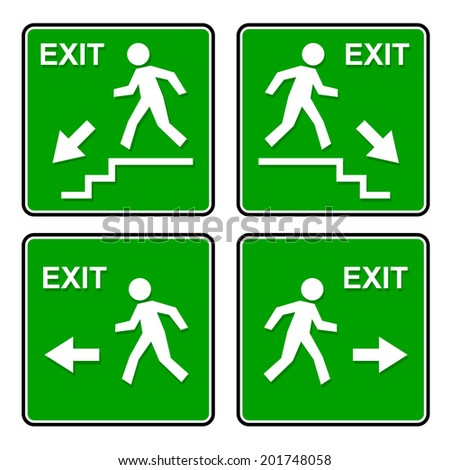 set with different templates for exit signs