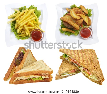 Set with fast food dishes, restaurant and cafe collection, isolated on white, sandwiches and potato french chips - stock photo