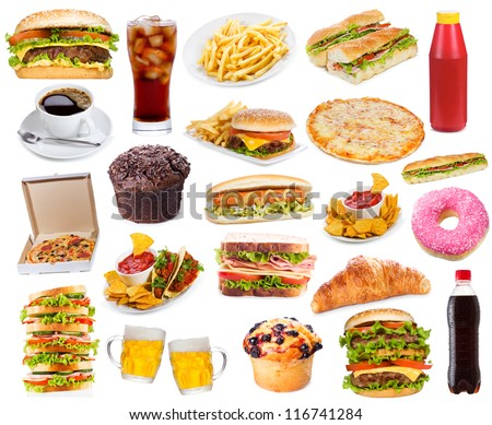 Set with fast food products on white background - stock photo