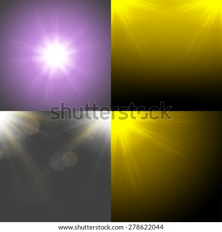 Set with four Abstract blurry background with  overlying semi transparent circles, light effects and sun burst - stock photo