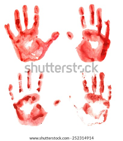 Set with four bloody hand prints isolated on white, Halloween theme - stock photo