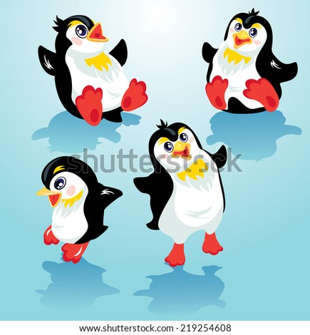 Set with funny penguins on blue icy background, cartoons for winter, Christmas or New Year design. Raster version