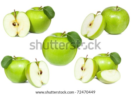 set with green apple on white background - stock photo