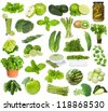 set with green food on white background - stock photo
