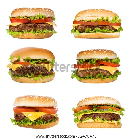 set with hamburgers on white background - stock photo