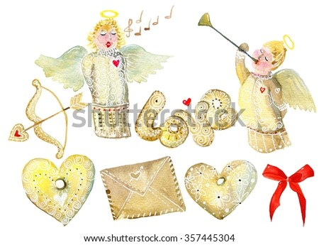 Set with isolated cartoon angels, hearts and other symbols. Watercolor set with simbols of Valentines Day. Watercolor set with simbols of Christmas. - stock photo