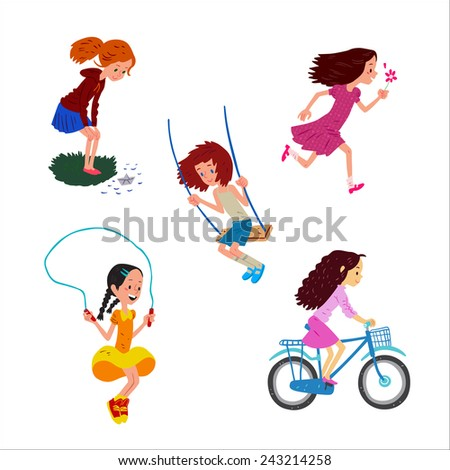 Set with kids play outdoor - stock photo