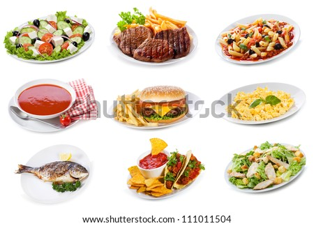 set with  plates of various food products on white background