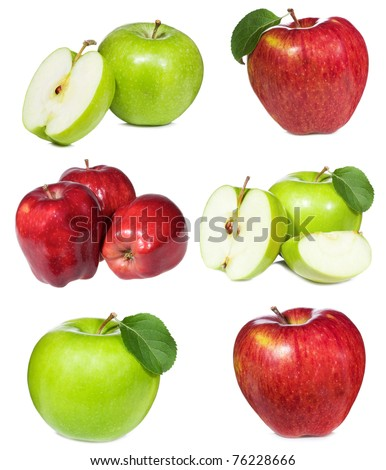 set with red and green apples on white background