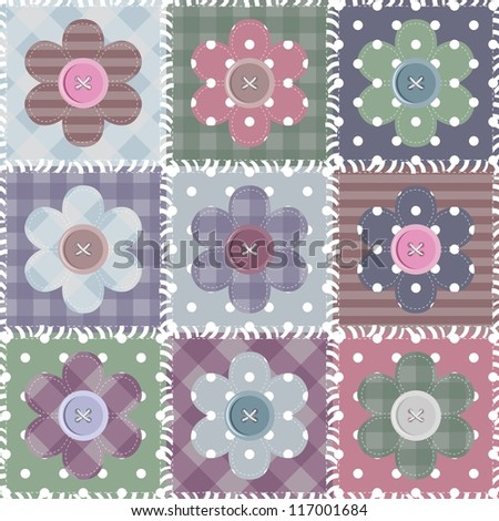 set with scrapbook flowers - stock photo