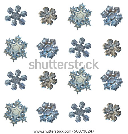 Set with snowflakes isolated on white background. This is macro photo of real snow crystals (medium size stellar dendrites with short arms and beautiful inner patterns), arranged as square grid.