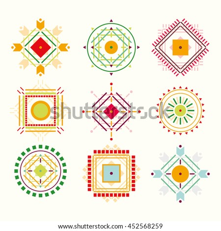 Set Tribal Indian Elements Logos Symbols Stock Illustration