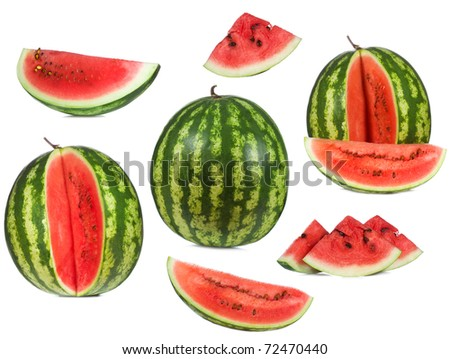 set with watermelon on white background