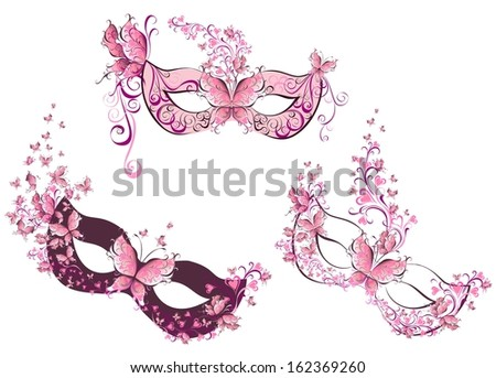Set woman masks with flowers and butterfly - stock photo