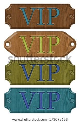 Set wooden label,VIP, isolated on the white background. - stock photo