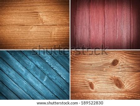set wooden texture background - stock photo